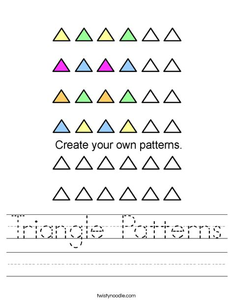 triangle pattern letters triangle patterns worksheet twisty noodle