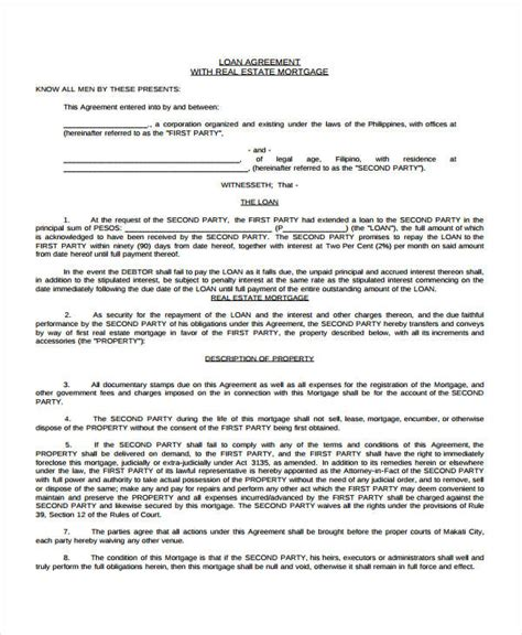 mortgage loan agreement template loan agreement form template