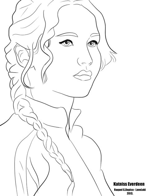 Katniss Everdeen From The Hunger Games - Free Coloring Pages