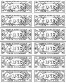 One dollar bill colouring pages page 2