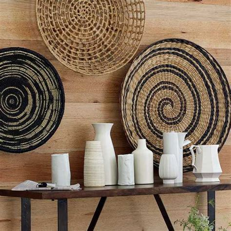 Wicker Wall Decor by Modern Wall Decoration With Ethnic Wicker Plates Bowls