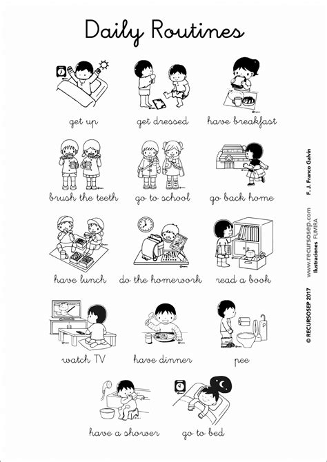 imagenes rutinas diarias en ingles daily routines english vocabulary