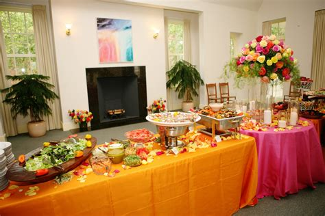 How To Decorate A Buffet Table In Dining Room by Campy Wedding Style Buffet Food Table