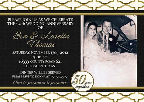 50th anniversary photo invitations custom gold black and ivory 50th anniversary photo invitation