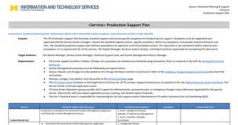 production support document template its production support plan template docs