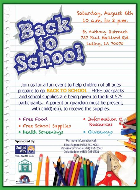 back to school poster template best photos of exles flyers of school school event