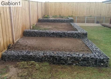 stepped gabion retaining walls ready  planting http