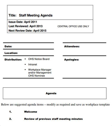 staff meeting agenda template sample templates
