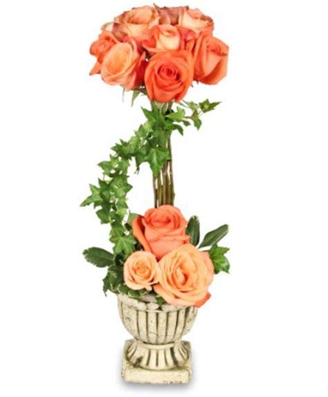 Topiary Florist - peach rose topiary arrangement roses flower shop network