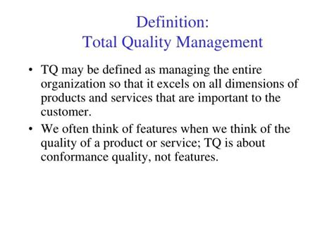 Total Quality Management Project For Mba Pdf by Ppt Definition Total Quality Management Powerpoint