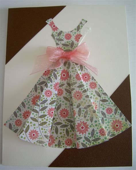 Origami Paper Dress - yellow origami bird pink dress card