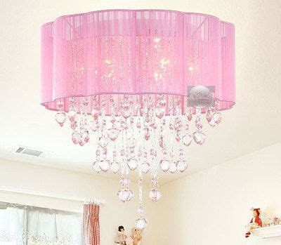 Pink Drum Shade Crystal Ceiling Chandelier Pendant Light Bedroom Light Shade