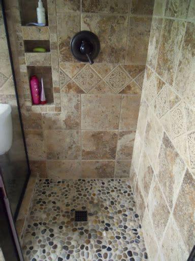river rock shower tile uh huh ideas  master bath