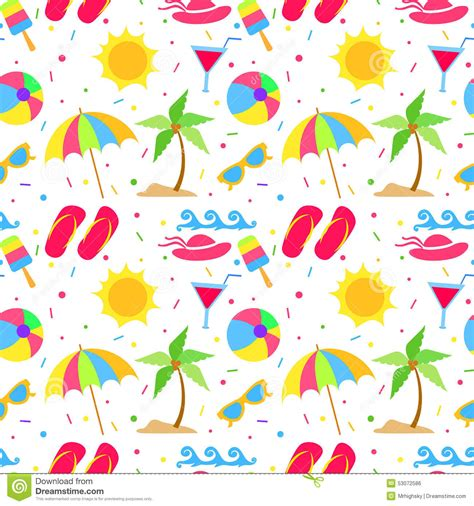 vector pattern summer summer elements seamless pattern stock vector image