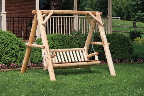 log swings amish cedar log a frame and family swing