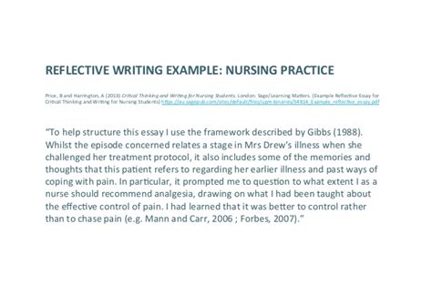 Reflective Essay Exles Nursing by Exles Of Reflective Essays Reflective Writing Internship Reflective Essay Reflective