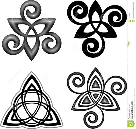 vector celtic triskel symbols set stock vector