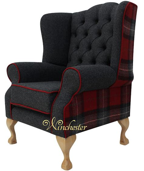 Frederick High Back Sofa Bryce chesterfield frederick wing chair fireside high back armchair check fabric