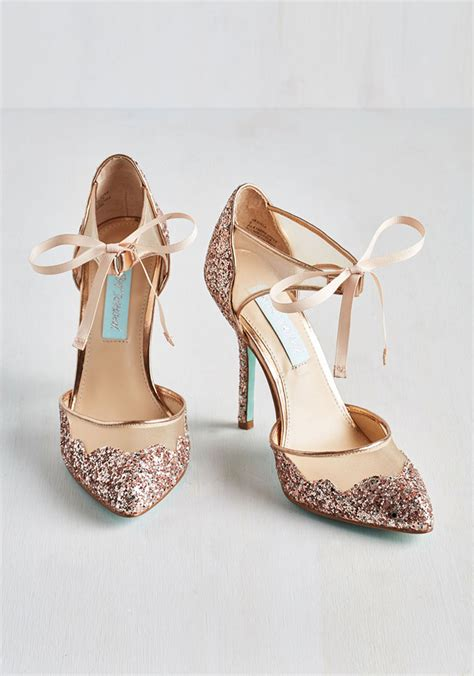 Blush Bridal Heels by Sparkly Chagne Bridal Heels From Blue By Betsey Johnson