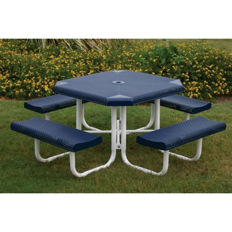 plastic coated picnic tables octagon picnic table 46 in plastic coated perforated steel