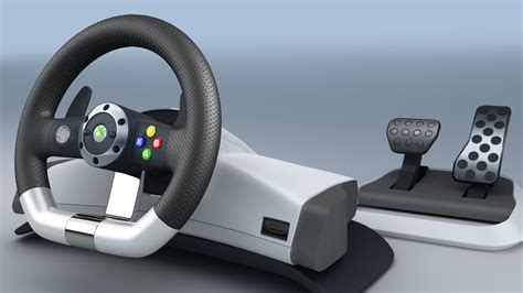 volante microsoft xbox 360 3d model microsoft xbox 360 racing wheel