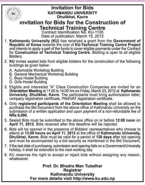 invitation to bid template construction kathmandu news invitation for bids the