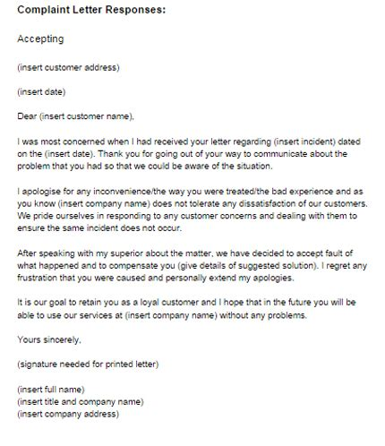 Complaint Letter Response Example Accepting   Just Letter