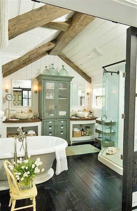 cottage farmhouse bathroom wood beam ceiling