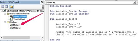 module pattern global variables define variables in vba declare variables and assign them