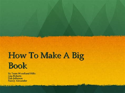 How To Make A by How To Make A Big Book