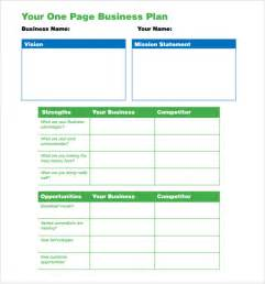 One Page Business Plan Template One Page Business Plan Template 10 Download Free