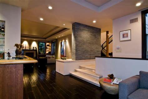 big contemporary house  dark interior filled