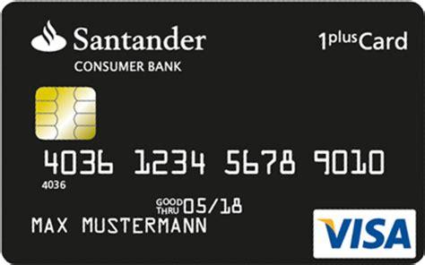blz santander consumer bank mönchengladbach 1plus visa card kreditkarte mit tank und reiserabatt