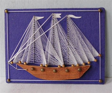 String Sailboat - 70s string boat arts crafts string