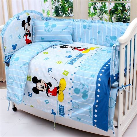 mickey mouse pillow and blanket set promotion 7pcs mickey mouse bedding set baby cot bed