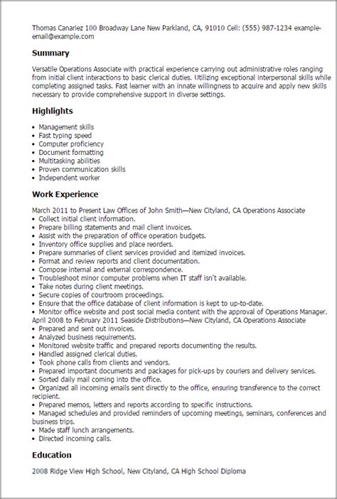 Operations Associate Cover Letter by Professional Operations Associate Templates To Showcase Your Talent Myperfectresume
