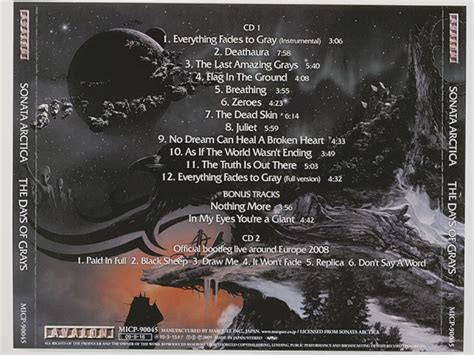 Sonata Arctica Succesor Japan Pressing the days of grays sonata arctica used cd 2cd 1st press w obi metal