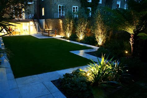 patio lights uk modern family garden in battersea with patio lighting planting
