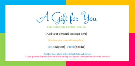 customizable gift certificate template gift certificate templates