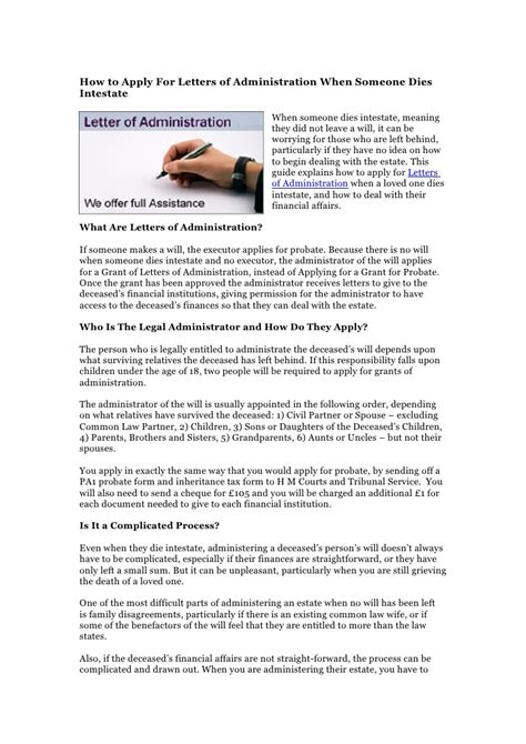 Succession Certificate Letter Administration How To Apply For Letters Of Administration When Someone Dies Intestate