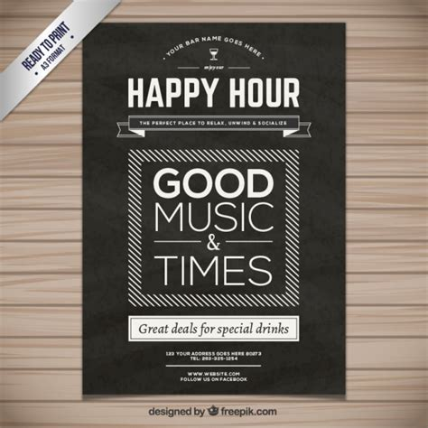 happy hour sign template happy hour poster vector free
