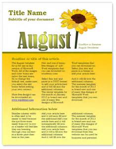 Easy Newsletter Templates by Free August Newsletter Template For Microsoft Word By