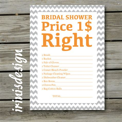 printable price is right bridal shower game items similar to bridal shower game the price is right