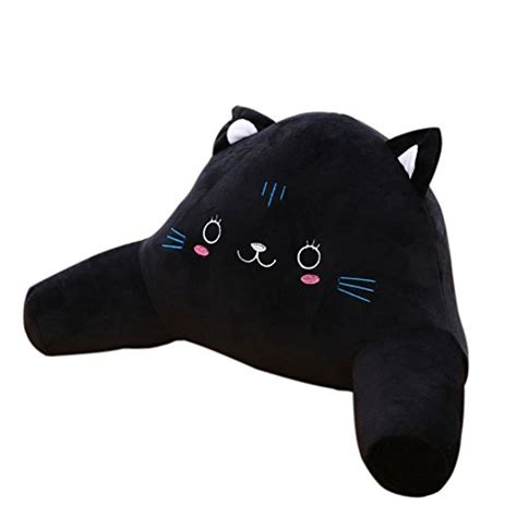 decoration childrens bed rest pillow with arms lounge pillow with novelty black cat bedrest reading posture arm pillow plush