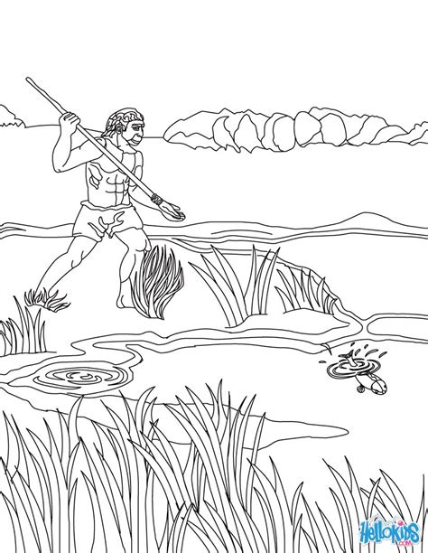 coloring pages early man homo erectus fishing coloring pages hellokids com