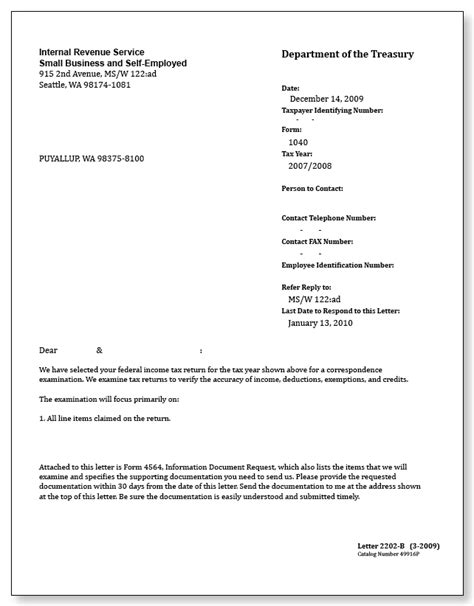 letter to the irs template irs audit letter 2202 b sle 1