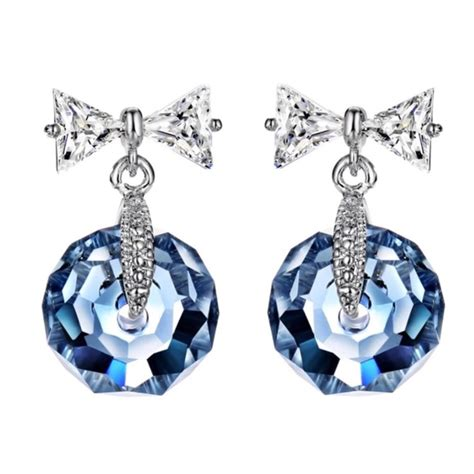 Bow Swarovski Earrings 60 jewelry swarovski crystals blue bow faceted