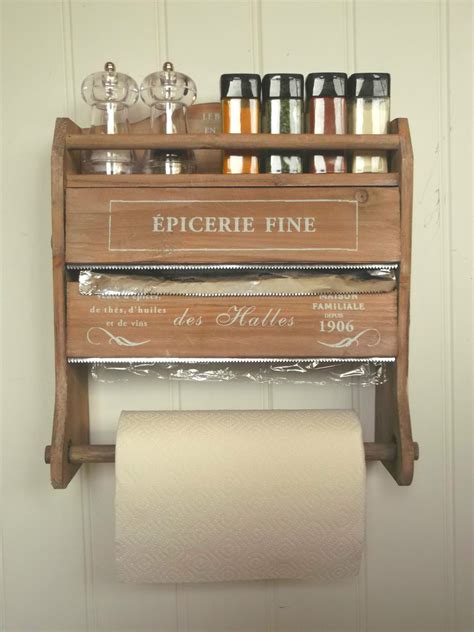 shabby chic french kitchen roll dispenser cling film tin foil holder wall unit amazing grace