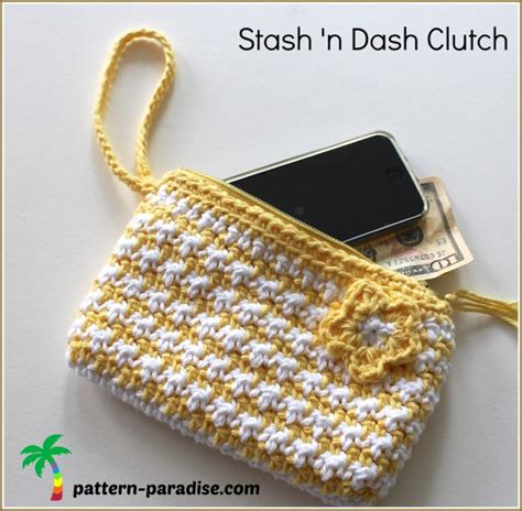 crochet pattern stash bag free crochet pattern stash n dash clutch pattern paradise