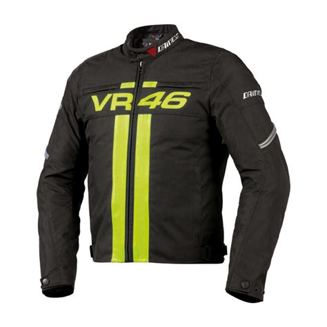 Jaket Vr46 dainese vr46 textile jacket blk yel bikeworld ireland